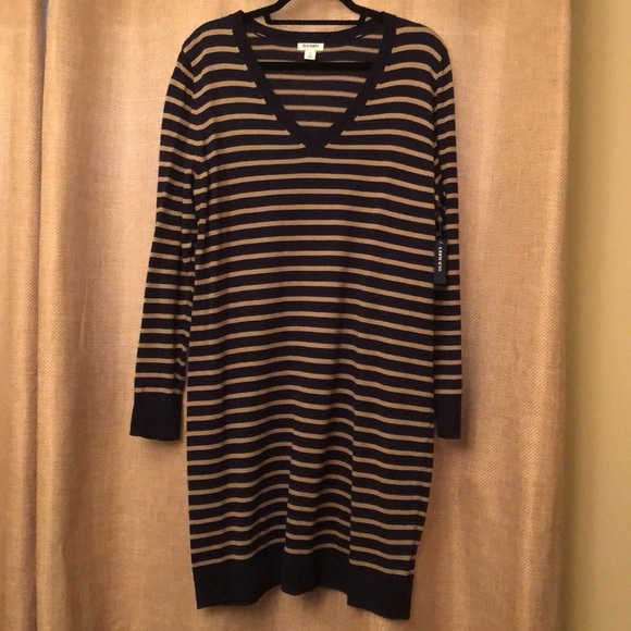 Old Navy Dresses & Skirts - Navy & Tan Sweater Dress- Old Navy, XL, NWT